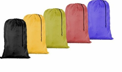 HomeLux Large 30 X 40 Inch Heavy Duty Nylon Laundry Bag with Drawstring Slip Lock Closure, Set of 12!!! Assorted Colors and Designs