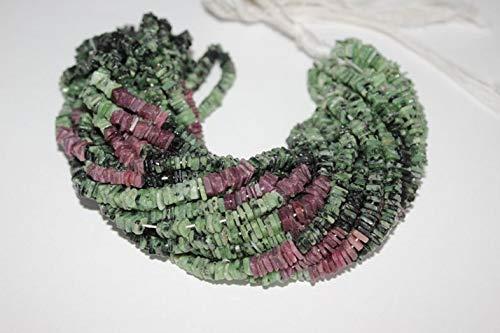 Shree_Narayani Cuenta de piedra preciosa cuadrada de Zoisita de rubí natural lisa, heishi de 15 pulgadas, 4.5-5.5 mm, cuentas de piedra de nacimiento de 1 heishi de calidad natural AAA