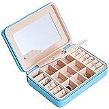 HAVIEANA Jewellery Box Blue PU Portable Jewelery Box for Earrings Mirror Rings Jewellery Storage,17x12x5cm
