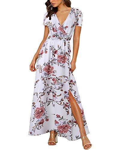 Auxo Vestido Largo Verano Mujer Impresión Floral Vestidos Bohemios Sin Mangas Cuello V Vestido Playa Largo Tirantes
