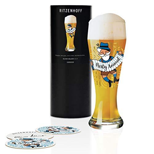 RITZENHOFF - Bicchiere da birra di frumento di Oliver Melzer, in cristallo, 500 ml, con 5 coperchi