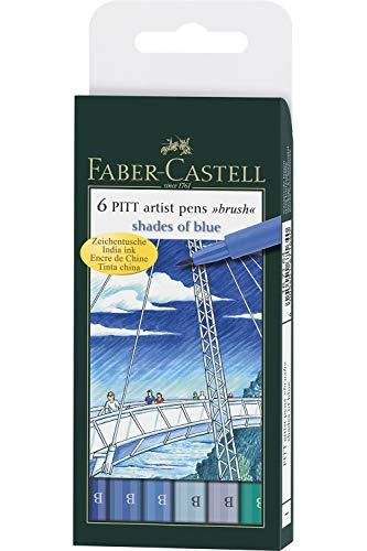 Faber-Castell - Set 6 penne Pitt artist pen, toni di blu, punta a pennello