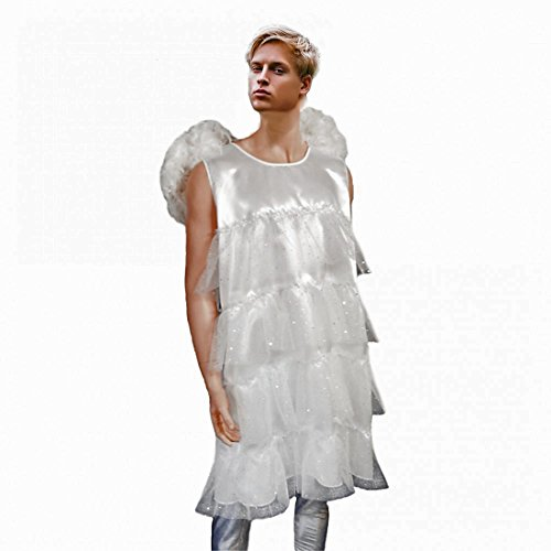Krause & Sohn Los Hombres del Traje de ángel, Talla L, Hombres Vestido del Ballet del Carnaval Traje Blanco Divertido