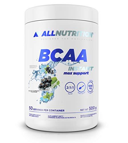 ALLNUTRITION BCAA Pulver mit Aminosäuren Komplex hochdosiert, enthält Glutamin, Leucin, Valin, Isoleucin und Taurin | BCAA MAX SUPPORT Black Currant 500g