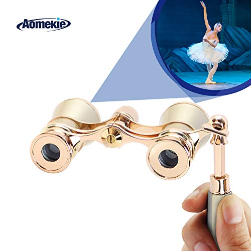 Aomekie Opera Glasses Binoculars 3X25 Theater Glasses Mini Binocular Compact with Handle for Adults Kids Women in Musical Concert(Gold)