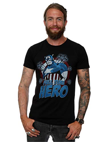 Marvel Homme Captain America Full Time Hero T-Shirt
