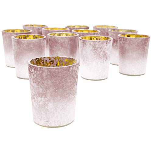 "Koyal Wholesale 2.6"" Tall Burgundy Frosted Ombre Mercury Glass Votive Candle Holders, Set of 12, Bulk Tealight Holders, Tablescapes, Wedding, Home Decor, Office, Restaurant, Table Setting Decorations"