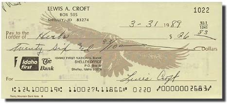 LEWIS CROFT Max 43% OFF Wizard of Popular brand in the world Oz Check - Bank Signed Note