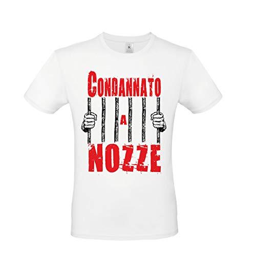 T-Shirt Maglietta Addio al Celibato per Sposo : CONDANNATO A Nozze - Gadget per Festa Addio al Celibato (Taglia XL)