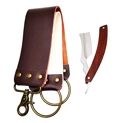 Seeyo Straight Razor Shaving Kit - Premium 440C Stainless Steel Sharp Blade (Upgraded Craftsmanship) - Vintage Natural Wood Handle - Leather Razor Strop Included (Rosewood)