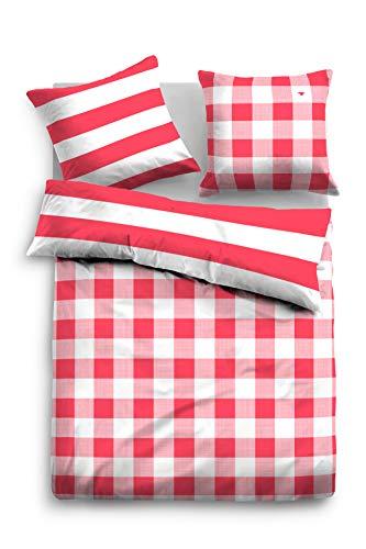 TOM TAILOR 0069838 Bettwäsche Garnitur mit Kopfkissenbezug Baumwoll-Satin 1x 155x220 cm + 1x 80x80 cm white