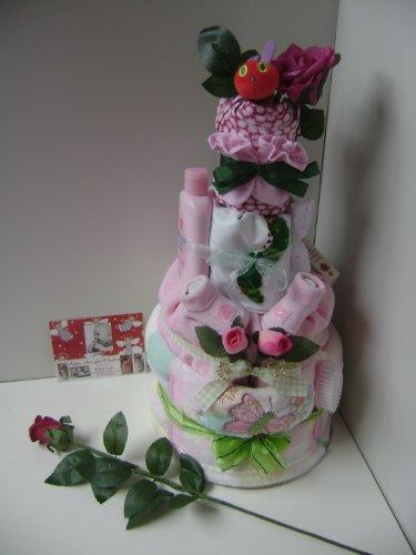 Gâteau de couches pour bébé fille Very Hungry Caterpillar 4 étages sur un lit de fleurs et de feuilles avec de superbes décoratif & Perles