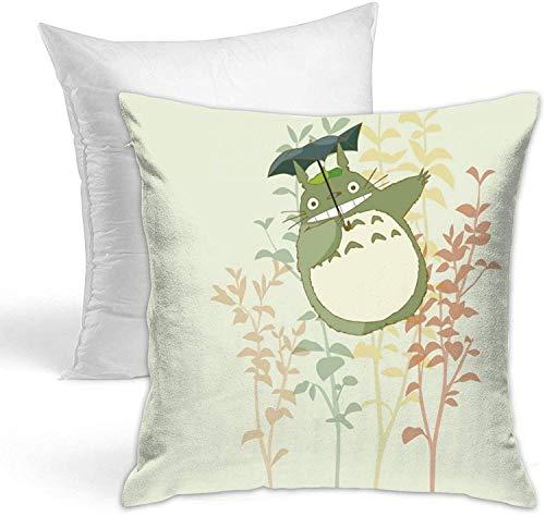 Dibujos animados Totoro Hold almohada de doble cara impresa (incluyendo núcleo de almohada) utilizado para sofás cojines cuadrados cojín de coche 18 pulgadas x 18 pulgadas