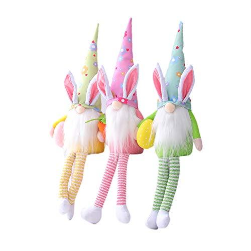 PUAMAC Osterhasen-Lichter, handgefertigt, Plüsch-Zwerg, Puppengeschenke, Hasen-Figuren, Urlaubsdekoration für Ostern, Heimdekoration oder Kinder-Urlaubsgeschenk.