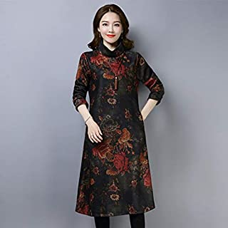 ZCLAU The New Thick Woolen Dress Mother Dress Big Yards Loose Dress was Thin Lady Bottoming Skirt (Color : Black Coffee Color, Size : XXXL)