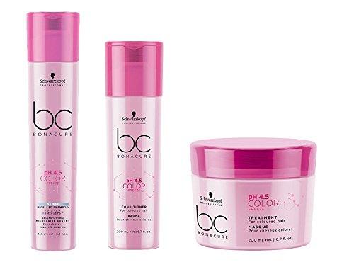 Schwarzkopf Bonacure pH 4.5 Color Freeze Silver Micellar Shampoo 250ml, Conditioner 200ml and Treatment 200ml