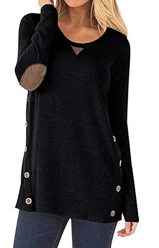 CARINACOCO Donna Camicia Casuale Camicetta Bottone Maglietta Manica Lunga Eleganti Tunica T-Shirt Loose Fit False Suede Maglia Tops Nero L