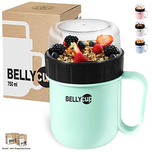 BELLYCUP Müslibecher To Go - in Mint, Grau, Rosa oder Blau - im Einzel- oder Doppelpack - Ihr praktischer Müsli Becher für unterwegs – Joghurt Porridge Salat Suppen Brei Becher to Go - BPA-frei!