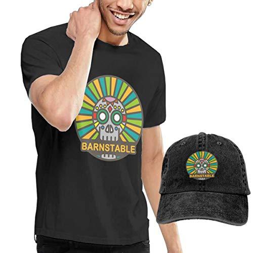 X-JUSEN Men's Barnstable Massachusetts T-Shirts Blouse with Cowboy Hat Black