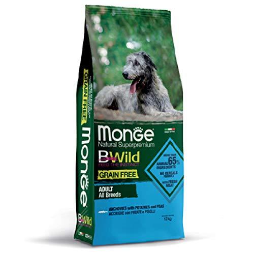 MONGE GRAIN FREE ADULT 12 KG (ACCIUGHE, PATATE E PISELLI) - Crocchette Super Premium alle Acciughe per cani adulti, monoproteico, naturale al 100%