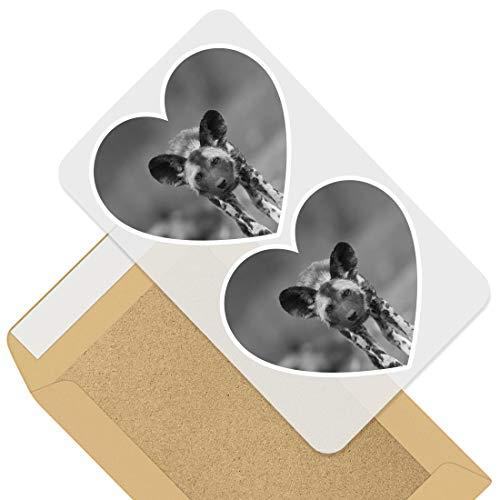 Impresionante 2 pegatinas de corazón de 7,5 cm – BW – African Wild Dog Lycaon Pictus Puppy Fun calcomanías para portátiles, tabletas, equipaje, libros de chatarra, neveras, regalo genial #36648
