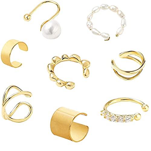 DOUHEN Pendientes de mujer en forma de C doble anillo oído clip de moda oído conjunto cartílago oro decoración joyería