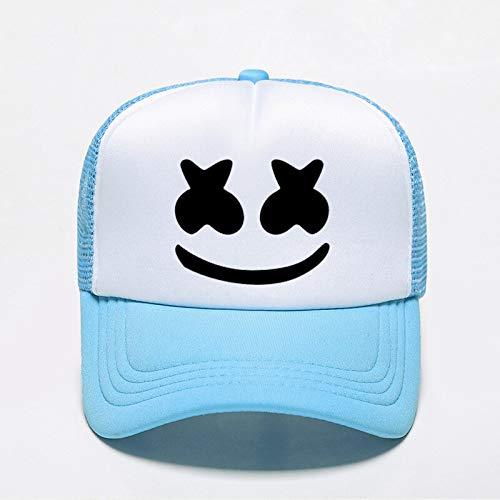 gorra Gorras Beisbol Gorra de béisbol de malvavisco para hombres y mujeres, sombreros de sombrilla con cara sonriente, gorras transpirables al aire libre Hip Hop estilo Dj Bone Punk a la moda,Sky blue
