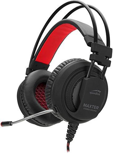 Speedlink MAXTER Stereo Headset - Gaming Headset mit flexiblen Mikrofon, Kabelfernbedienung, für PS4, schwarz
