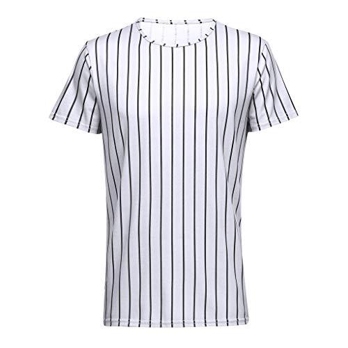 waotier Camiseta De Manga Corta para Hombre Camiseta con Cuello Redondo De Rayas Ropa Hombre Verano De Moderno