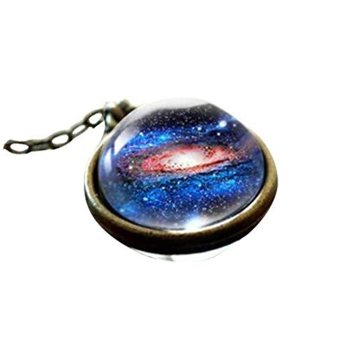Yowablo Halskette Anhänger Sonnensystem Planet Halskette Galaxy Doppelseitige Glaskuppel (1D)