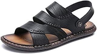New Men Summer Outdoor Sandals Soft Shoes Beach Slippers Comfortable Casual Sneakers Leather Flip Flops Hombre (Color : Black, Shoe Size : 41)