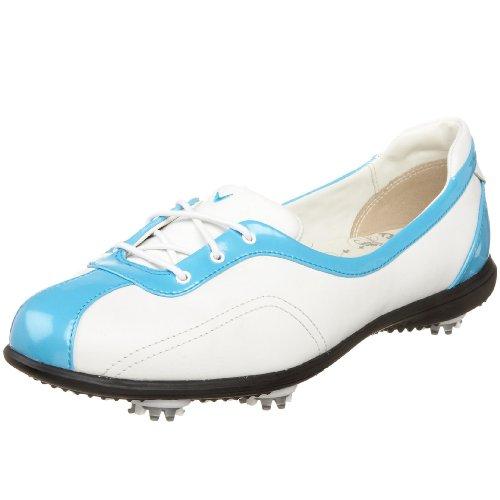 Callaway Women's Half Lace Golf Shoe,White/Cyan Blue,US Women's 9.5 M