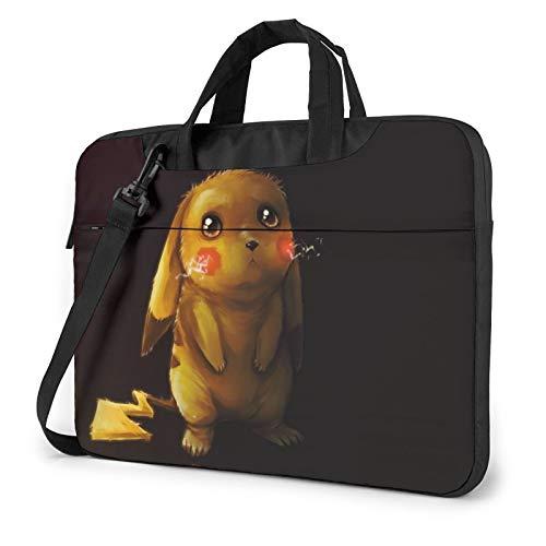 Poke-Mon Sad Pikachu 13 14 15.6 Inch Laptop Bag Shoulder Messenger Bag Adjustable Computer Shockproof Laptop Briefcase Air Pro Notebook Sleeve