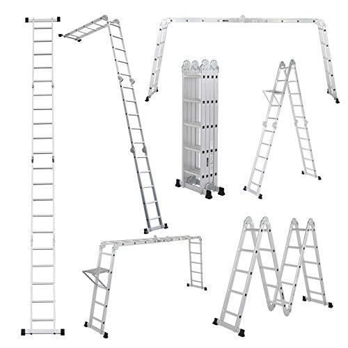LUISLADDERS 18.5FT Folding Ladder Multi-Purpose Aluminium Extension 7 in 1 Step Heavy Duty Combination EN 131 Standard