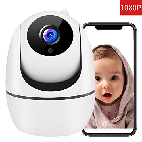 Baby Monitor 1080P FHD Home WiFi Security Camera Sound with Night Vision 2-Way Audio Automatic Person Tracking Available Monitor Baby/Elder/Pet Compatible with iOS/Android (White) Monitors