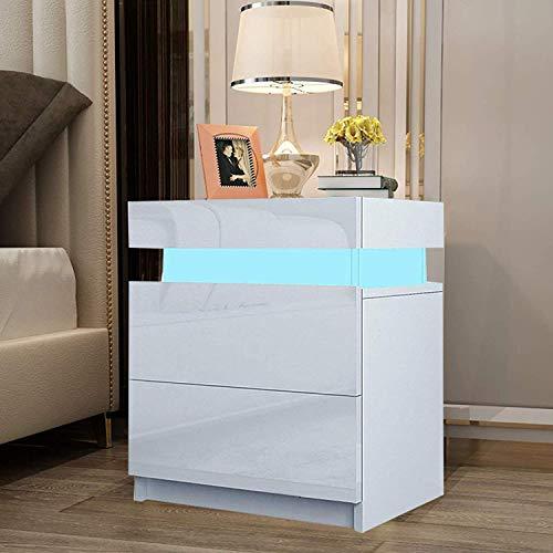 YOLEO 2X Nachttisch Nachtschrank LED Nachtkommode Nachtkonsole Hochglanz/Front Kommode Schrank mit 2 Schubladen- LED Beleuchtung -für Schlafzimmer/Wohnzimmer (Weiß/ 45x35x52)