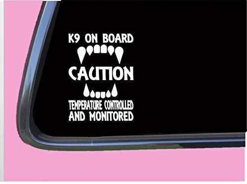 K9 on Board temp controlled TP 591 8' Decal Sticker malinois german shepherd