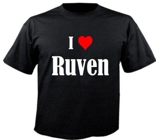 Camiseta I Love Ruven para mujer, hombre y niños en los colores negro, blanco y rosa. Negro 10 años