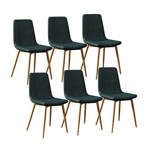 Juego de 6 sillas de cocina modernas de comedor, taburete de bar con patas de metal, asiento y respaldos para salón, dormitorio, oficina, salón (color verde)