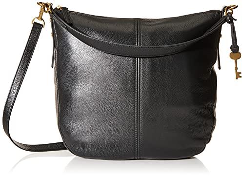 Fossil Women's Jolie Leather Hobo Purse Handbag, Black