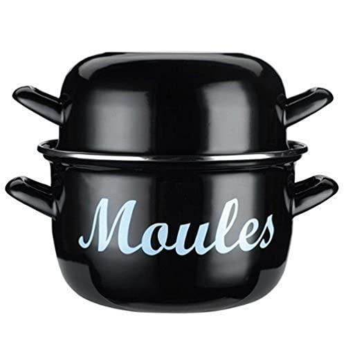 KitchenCraft World of Flavours Mussel Pot, Enamel, Medium (18 cm)