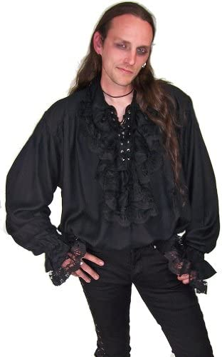fancy dress,new Rocabilly Goth Pirate// fencing //rock star//Morris cotton shirt