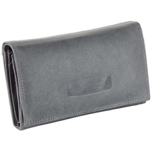 Ledershop24 RFID Damen Leder Geldbörse Damen Portemonnaie Damen Geldbeutel - Lang Grau Leder - Geschenkset + exklusiven Schlüsselanhänger