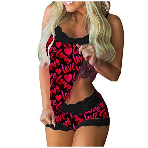 757 Damen Reizwäsche Sexy Unterwäsche Set Strapsen Negligee Nachtwäsche Lingerie Nachthemd mit Tarnung/Liebe/Schmetterling Drucken Gemütlich Dessous für Geburtstag Valentinstag Geschenk