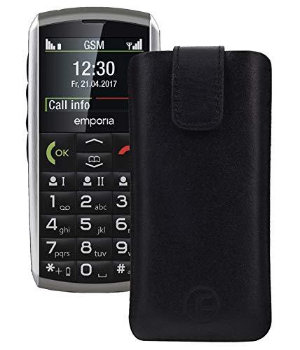 Favory Tasche Leder Etui für artfone CS181 ECHT Ledertasche Hülle Schutzhülle (Lasche mit Rückzugfunktion) schwarz