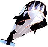 xyl Cometa 3D, Enorme Cometa de luz de delfín Negro Gigante de ala Suave sin Marco, Cometa de Pareja de Dibujos Animados de Ballena asesina de Animales de Cola Larga para niños