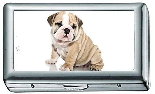 Bulldogge Hund Hunde Hundewelpe Baby Zigarettenetui / -schachtel Visitenkartenetui Edelstahlgehäuse Silber Metall Brieftasche Schutz