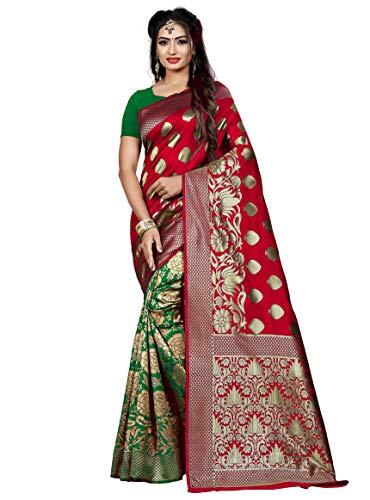 Banarasi Lichi Seidensaris für Frauen, indisch, ethnisch, Hochzeit, Party, Geschenk, Sari mit ungenähter Bluse - - Einheitsgröße