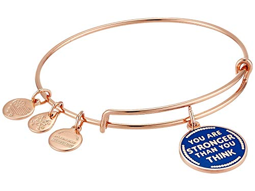 Alex and Ani You are Stronger Than You Think Bangle Bracelet Shiny Rose Gold One Size
