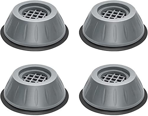 4 Stück Vibrationsdämpfer, Waschmaschine Fußpolster, BAYHT Antivibrationsmatte Vibrationsdämpfer für Waschmaschine & Trockner 4cm (Grey, 4cm)
